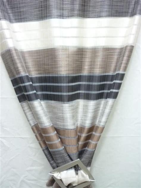 deko stoff gardine vorhang breit gestreiftbraunbeige