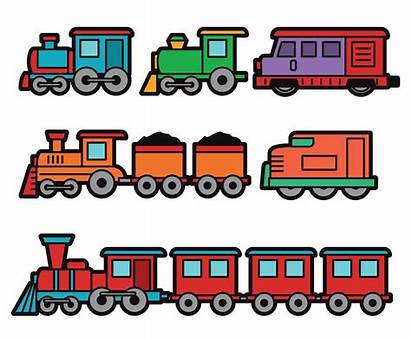 Train Cartoon Colorful Clipart Choo Vectors Trains