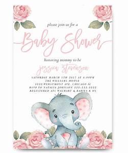 Elephant baby shower invitation, pink floral elephant
