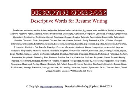 Best Adjectives To Use In A Resume by Resume Writing Descriptive Words Business
