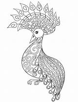 Coloring Pages Adult Adults Peacock Animal Advanced Printable Doodles Cool Animals Bird Easy Doodle Mandala Print Owl Cute Vector Holiday sketch template