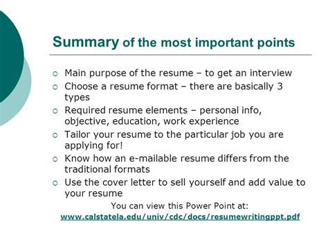 importance of resume in points resume writing workshop ppt