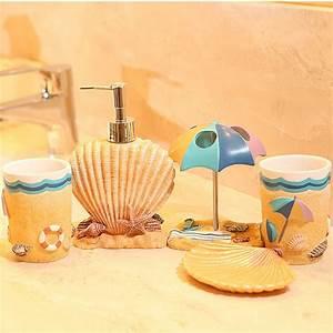 Five pieces resin bathroom set fashion resin summer beach for Beach bathroom accessories