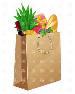 Grocery Bag with Food Clip Art