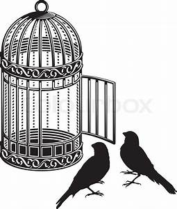 Metallic bird cage with open door and two bird silhouettes ...