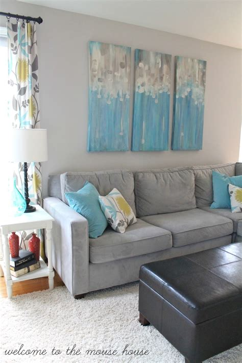grey white and turquoise living room the new family room reveal