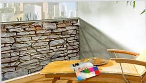 sichtschutz windschutz balkon 500 x 90 cm steinoptik ebay With französischer balkon mit sichtschutz garten steinoptik