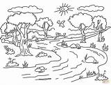 Coloring River Pages Landscape Printable Drawing Through sketch template