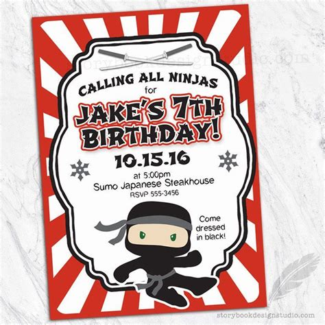 ninja birthday party invitations kiddos ninja birthday