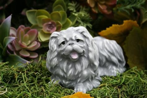 pekingese angel dog statue dog memorial figurine concrete