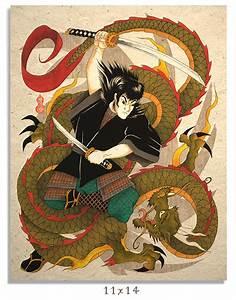 Asian Art Print Samurai And Dragon   Samurai and Japanese ...