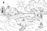 Coloring Landscape Summer sketch template