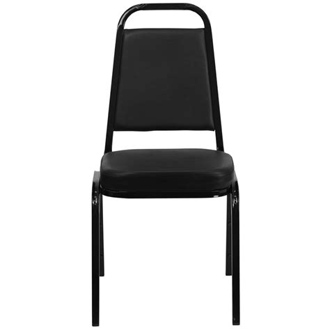 trapezoidal back stacking banquet chair with black vinyl