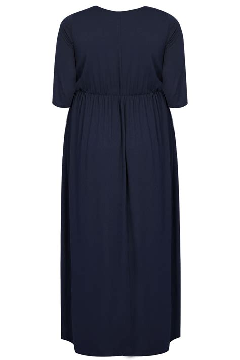 maxi jersey navy jersey maxi dress with ruched waist plus size 16 to 32