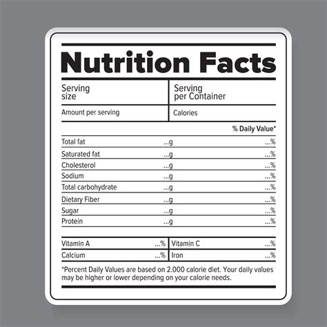 nutrition facts vector label graphic objects creative