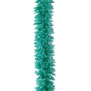 6 ft turquoise tinsel unlit garland christmas garland at hayneedle