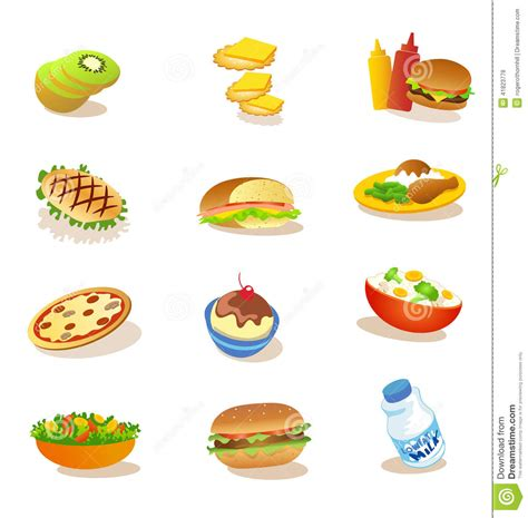 Set Of Healthy Food Illustrations Stock Illustration