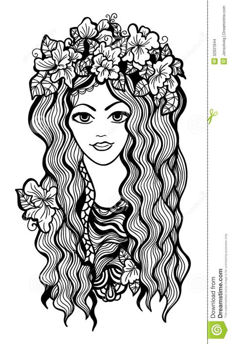 Beautiful Black And White Girl With Flower Crown Stock