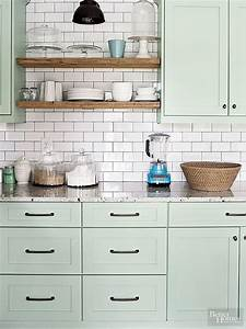 80 cool kitchen cabinet paint color ideas With kitchen cabinets lowes with subway canvas wall art