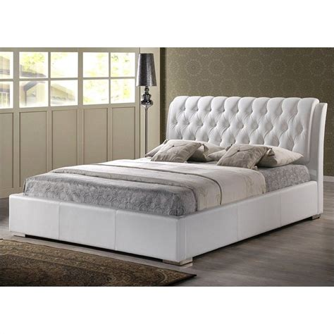 King Platform Bed With Tufted Headboard by King Platform Bed With Tufted Headboard In White