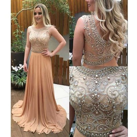 beaded prom dress long champagne prom dresses