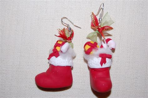 pere noel en pate fimo boucle d oreille botte du p 233 re no 235 l cr 233 ation de