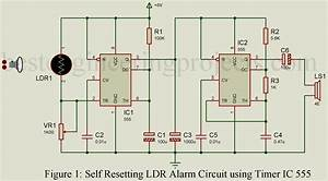 Self Resetting Ldr Alarm Using Timer Ic 555