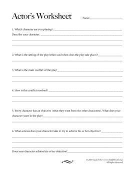 conflict list template theatre actor s character worksheet by gyda arber teachers pay