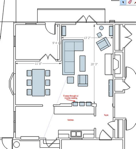 L Shaped Living Room And Dining Room Furniture Layout?