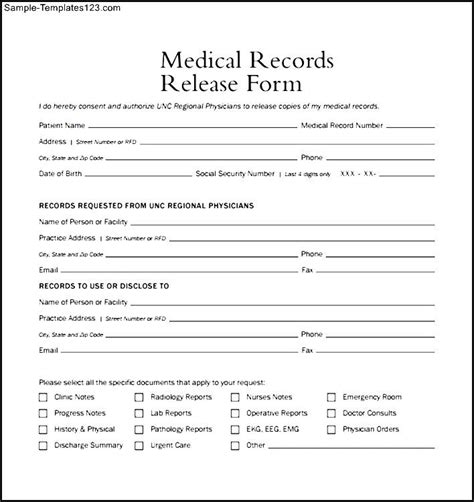 generic medical records release form template business