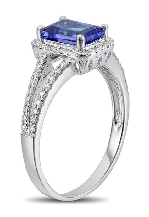 carat blue sapphire  diamond halo engagement ring