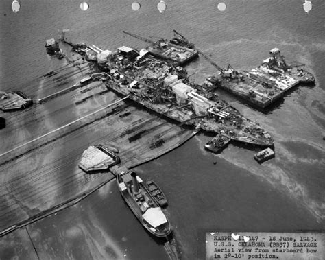 Boat Salvage Tennessee by Salvage Operations Uss Oklahoma Bb 37 Sunk During The