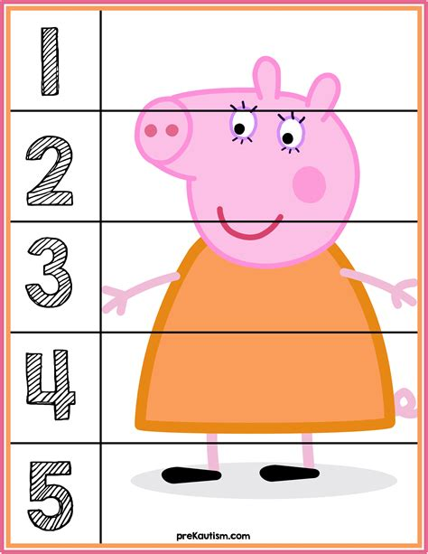 tappeto puzzle peppa pig peppa pig number puzzles s 1 5 autism activities for