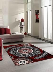Tapis Salon NEW FLORIDA 4 Gris Et Rouge
