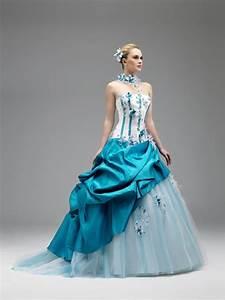 mariage ivoire turquoise robe de mariee coloree annie With achat robe de mariée avec bijoux turquoise