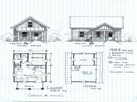 cabin blueprints floor plan for a 2 bedroom cabin with a loft studio