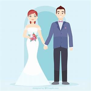 Cute wedding couple in love Vector | Free Download