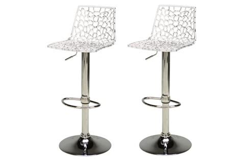 lot de 2 tabourets de bar design transparents sparte tabouret de bar pas cher