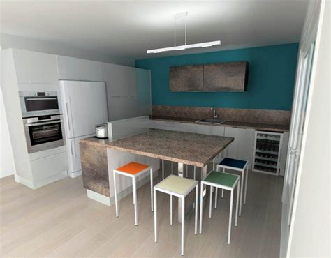 mur cuisine cuisine blanche mur bleu canard