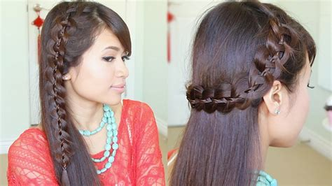 unique  strand lace braid hairstyle  long hair