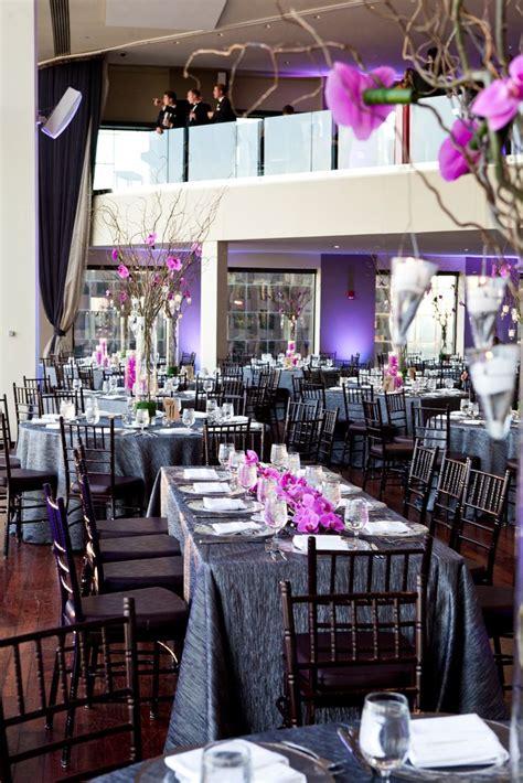 charcoal  purple reception decor