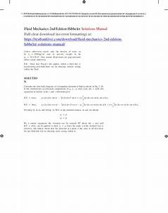 Fluid Mechanics 2nd Edition Hibbeler Solutions Manual