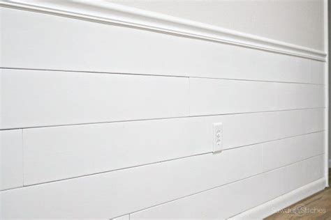 Where To Buy White Shiplap by Covering Wallpaper With Faux Shiplap Sawdust 2 Stitches
