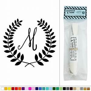 letter m monogram calligraphy laurel wreath vinyl sticker With letter m monogram stickers