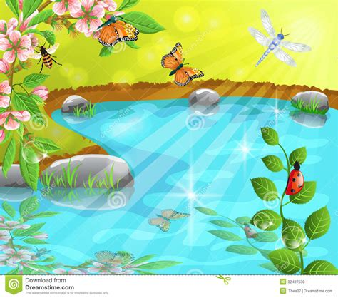 merry pond   spring stock vector image  beautiful