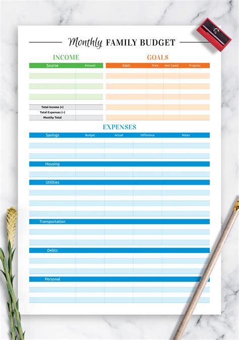 printable colored family budget template