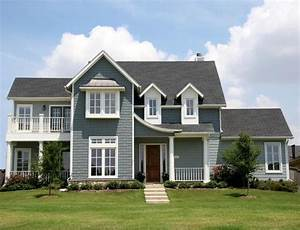 Exterior house paint light grey white trim red door for Painting the exterior of a house