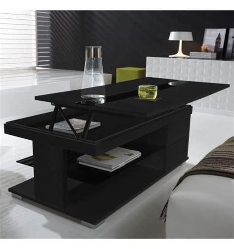 table basse relevable bois gris 233 et verre noir meuble
