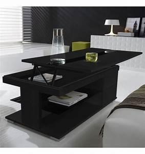 Table Bois Et Noir : table basse relevable bois gris et verre noir meuble ~ Dailycaller-alerts.com Idées de Décoration