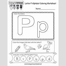 Letter P Coloring Worksheet  Free Kindergarten English Worksheet For Kids